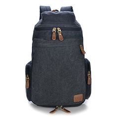 Big Mango Big Capacity Canvas Hiking Backpack Schoolbag Travel Backpack for College Laptop Rucksack  Black ** To view further for this item, visit the image link.