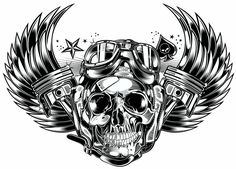 Skull & Pistons - Harley Davidson - I love this wow this has my name all over it :))))))) I would change it a bit, thinking about it for a great tattoo hmmm yes