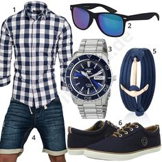 Summer style with blue and white Amaci & Sons shirt, Sublevel jeans shorts, sunglasses, gold anchor bracelet, Bugatti shoes and Seiko 5 men's wristwatch .  1. Shirt► amzn.to/2K0Mho7 2. Glasses► amzn.to/2FWGY6A 3. Clock► amzn.to/2I1EAS4 (-57%)  4. Shorts► amzn.to/2I1ESIE (-41%)  5. Bracelet► amzn.to/2jIi4Pi (-52%)  6. Shoes► amzn.to/2K6rcJ1 Stylish Men, Men Casual, Blue Fashion, Mens Fashion, Quoi Porter, Look Man, Herren Outfit, Casual Outfits, Fashion Outfits