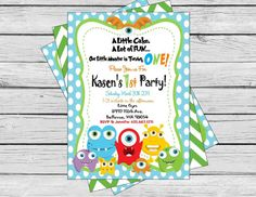 Little Monster Happy Birthday invitation - Lime Green Chevron Blue Polka Dots with orange and Black accents - Party Pack Specials Available on Etsy, $15.00
