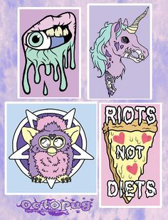 Pastel Grunge Vinyl Decals (Zombie Unicorn, Satanic Furby, Riots Not Diets, Lip Drip)