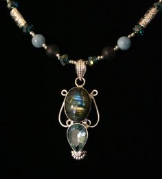 Labradorite, Kunzite Sterling Silver Pendant Necklace with Kunite Beads      #jewelry#Necklace#Stones#Gift#JewelryHandmade#Beads#Etsy#Spreesy#stonejewelry#crystaljewelry#crystals#kunzite#peridot#dendriteopal#sterlingSilver#valentinesday#sterling#Labradorite#Kunzite | Shop this product here: http://spreesy.com/everythingarty/84 | Shop all of our products at http://spreesy.com/everythingarty    | Pinterest selling powered by Spreesy.com