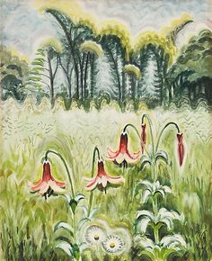 Charles Burchfield, Wood Lilies, 1944-62. Watercolor and chalk on paper, mounted to board, 24 7/8 x 20 1/4 inches