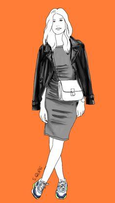 In diesem Outfit werden Sneakers als Stilbruch zu Kleid und Lady-Bag getragen.