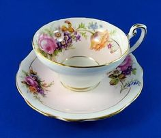 Striking Wide Foley Floral Bouquet on Pale Pink Border Tea Cup and Saucer Set