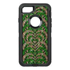#gold - #Green & Gold Glitter Spiral Vortex Hearts - OtterBox Defender iPhone 7 Case