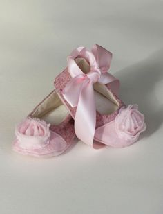 Baby Shoes - Pink Wool Couture Baby Ballet Slipper, Baby Ballet Flat - Chanel inspired - Toddler sizes too - Baby Souls Baby Shoes. $32.00, via Etsy.