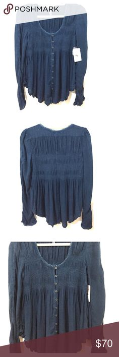 Free People Top Blue long sleeve Free People top with buttons up the front Free People Tops Blouses