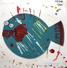 Cute kid's fish painting - an easy project that looks great on the wall