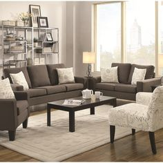 Add comfort to style with this classic two piece living room set consisting of a loveseat and sofa. The plush synthetic linen completes the look.