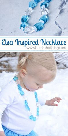Tutorial for making necklaces for toddlers. The magnetic clasp is a GREAT idea!!      Make your little princess an Elsa Frozen Inspired Necklace with this simple tutorial!