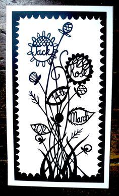 Su Owen: Custom Wedding/Engagement/New Baby Paper-Cut Design. £70.00, via Etsy.