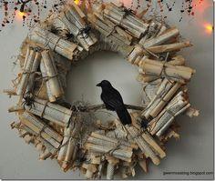 DIY Halloween : DIY Halloween Wreath-Edgar Allen Poe inspired!