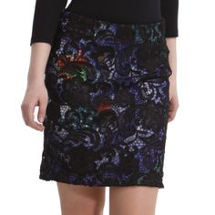 Desigual multi-colored lace overlay mini skirt Desigual multi-colored mini skirt - size M - front is printed with multi colored, back is a solid dark green. Covered with black lace - zipper closure - new but without tags (never worn) Desigual Skirts Mini