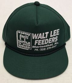 Vtg Walt Lee Feeders Hat Marienthal Kansas KS Baseball Cap Livestock Cattle Feed #YoungAn #BaseballCap