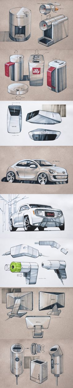 --- love the reflections and shading, especially the straight-lined diagonal marker strokes //Copic rendering! Id Design, Sketch Design, Cool Sketches, Drawing Sketches, Beautiful Sketches, Designs To Draw, Cool Designs, Sketching Techniques, Rendering Techniques