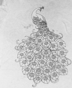 """peacock art nouveau…… I should know what, """"nouveau"""" means, but this is like my wire armature sketch Peacock Drawing, Peacock Painting, Peacock Art, Fabric Painting, Peacock Sketch, Embroidery Stitches, Embroidery Patterns, Hand Embroidery, Colouring Pages"""
