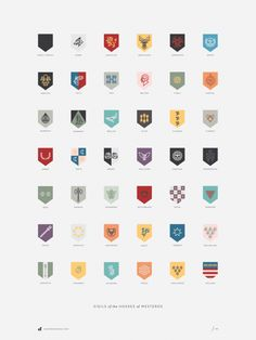 The Houses of Westeros poster  —  Designer Darrin Crescenzi interpretation of various House Sigils from George R.R. Martin's A Song of Ice and Fire series of fantasy novels. Done as a personal project to keep my love affair with the series fresh while waiting for the next novel.