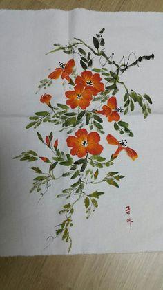 0번째 이미지 Fabric Painting On Clothes, Painted Clothes, Fabric Art, Japanese Painting, Chinese Painting, Gouache Painting, Silk Painting, Watercolor Flowers Tutorial, Fabric Paint Designs
