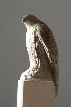 "Jane Rosen ""Sebastian's Bird,"" 2013 Pigmented limestone & marble 72 x 15 x17"