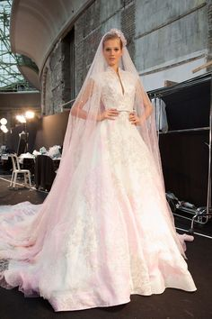 elie saab wedding gown with touch of pink.