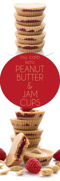 Delicious low carb Peanut Butter and Jam Cups - these easy keto fat bombs taste just like your favorite childhood sandwich. via (healthy sweet treats peanut butter oatmeal) Snacks Für Party, Keto Snacks, Healthy Snacks, Snack Recipes, Kitchen Recipes, Baking Recipes, Healthy Eating, Peanut Butter Fat Bombs, Low Carb Peanut Butter