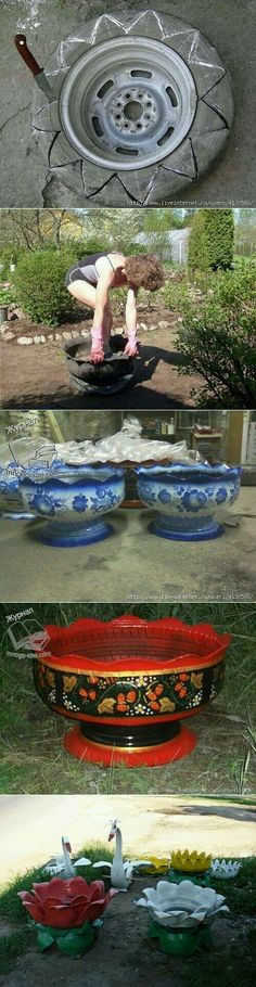 I m impressed. I wouldn t plant food plants in an old tire but why not decorative flowers I m impressed. I wouldn t plant food plants in an old tire but why not decorative flowers Tire Planters, Flower Planters, Flower Pots, Hand Planters, Garden Planters, Garden Crafts, Garden Projects, Recycled Garden Art, Garden Ideas