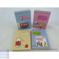 Kawaii Notebooks - Cute Dog Design - Hardback Spiral Bound (24 books - 4 Assorted Designs) Novelty Rubbers Erasers Kawaii Stationery Wholesales