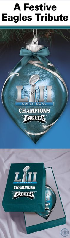 Commemorate your Philadelphia Eagles epic Super Bowl LII win for holidays to come with this officially-licensed ornament collection. Handcrafted of Heirloom Glass, each dramatic tribute lights up at the flick of a switch and includes a free keepsake box.