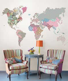 Look what I found on #zulily! Boho World Map Giant Wall Art Decal by WallPops! #zulilyfinds