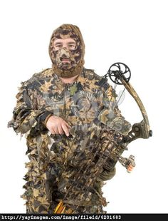 3D camo   Bowhunter in 3D camo over a white background