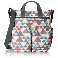 The Skip Hop Duo Signature Diaper Bag is a classic bag featuring a zip top, 10 pockets including a tech pocket, and free shipping from PeppyParents.com.