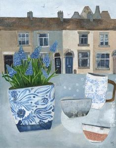 """Original mixed media painting by Rachel Grant. """"Spring In The Potteries"""" Available from Barewall Gallery. Art Original, Original Paintings, Rachel Grant, Ecole Art, Artist Sketchbook, Naive Art, Art Themes, Whimsical Art, Watercolor Paintings"""