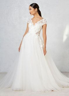 ivy aster fall 2017 bridal cap sleeves v neck heavily embroidered bodice tulle skirt romanitc a line wedding dress open v back chapel train (ayla) mv -- Ivy & Aster Fall 2017 Wedding Dresses Wedding Bridesmaid Dresses, Wedding Dress Styles, Wedding Attire, Wedding Gowns, Tulle Wedding, Wedding Cakes, Ivy And Aster, Tribal Dress, Gorgeous Wedding Dress