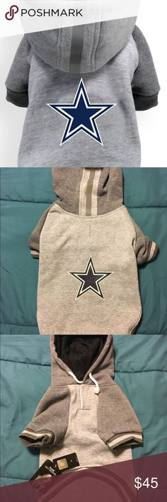 """Dallas Cowboys NFL Dog Pet Hoodie XL - Classic Sport Hoodie Design in Athletic Gray  - High Quality Soft and Thick Warm Fleece  - Drawstrings and Reflective Safety Stripe on Hood (Helmet Style!)  - Raglan Sleeves  - Leash Hole in back for easy harness/leash attachment  - NFL Team Logo Screen-print  - Washable!   Licensed and Manufactured by Little Earth Productions  Sizing: This is garment size not Dog size!  XL- Neck-15.5 """"Chest-18-20"""" Length 16""""  Price is firm!!  #dallascowboys #nfl…"""