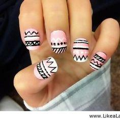 Uñas rosas - Looks que van con Mosca Footwear Aztec Nail Designs, Nail Designs 2015, Creative Nail Designs, Creative Nails, Acrylic Nail Designs, Art Designs, Design Art, Design Ideas, Nail Design Glitter