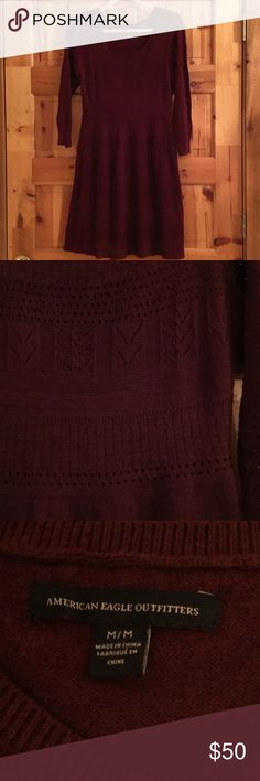 NWOT American Eagle Sweater Dress Adorable NWOT Brand New American Eagle Maroon Sweater Dress. This is such a pretty dress. Pretty knit design. My daughter has a dress that is very similar to this one so she is going to let this one go. Fully lined and so soft. This was NEVER WORN and is in MINT CONDITION. From my CLEAN non smoking home. Check out my other items as I am cleaning out closets and listing a lot of good stuff...I do bundle! Thanks for looking.😊 American Eagle Outfitters Dresses