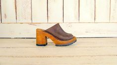 90s vintage brown leather chunky wooden by GreenCanyonTradingCo, $125.00