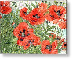Red Poppies Painting Acrylic Prints - Poppies Acrylic Print by Linda Benton