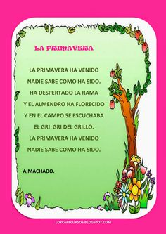"POESIA ""la primavera"" Spanish Grammar, Spanish Teacher, Teaching Spanish, Spanish Language, Teaching Resources, Bilingual Classroom, Bilingual Education, Kids Education, Spanish Lessons For Kids"