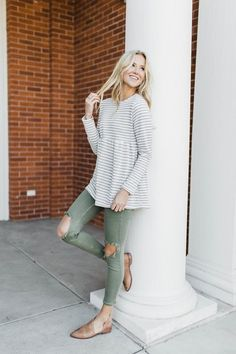 cute summer outfit, striped shirt, green pants, green jeans, white and gray striped shirt