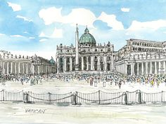 "Vatican, 12"" x 9"" art print from original watercolor painting"