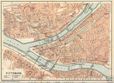 72 Best Maps of Pittsburgh, PA images   Blue prints, Cards, Map