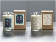 DIY Inspiratation: Naughty and Nice Illume Candles here. Take Dollar Store candles and repackage them. Make Naughty/Nice labels with your own design with picassa/photoshop/free editing programs or see my post on my new favorite quote/template site here.