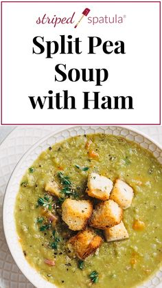 Split Pea Soup with Ham This split pea soup with hambone is easy to make and delicious! Made in one pot on the stove top, this recipe is great for making with leftover ham after a holiday dinner. Crock Pot Recipes, Best Soup Recipes, Chicken Recipes, Dinner Recipes, Cooking Recipes, Healthy Recipes, Keto Recipes, Chicken Soup, Recipes With Ham
