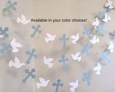 Christening Cross and DOVE Garland - Baptism decorations - First Communion Garland - RELIGIOUS Baby Dedication Decor - Your Color choice Baptism Party Decorations, Backdrop Decorations, Heart Decorations, Backdrops, Christening Banner, Boy Baptism, Christening Gown, Baby Dedication, First Holy Communion