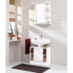 Bad Hochschrank Badschrank in weiß Eiche Badezimmer Schrank Chrom 190 cm Porto