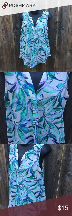 St tropez west tropical print blouse This blouse is so pretty! Has a tropical Turquoise print. Only worn once, it looks brand new. The brand is St Tropez West, size large. st tropez west Tops Blouses