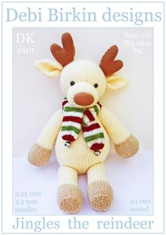 jingles reindeer PDF email toy knitting pattern by BunnyFriends, $3.99