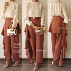 mode hijab Gorgeous set of silk blouse with a distinctive cut and the length of the hip covers and trouser trousers from the back and side, in a mater. Muslim Fashion, Modest Fashion, Hijab Fashion, Fashion Dresses, Classy Fashion, Trendy Dresses, Modest Dresses, Nice Dresses, Casual Dresses